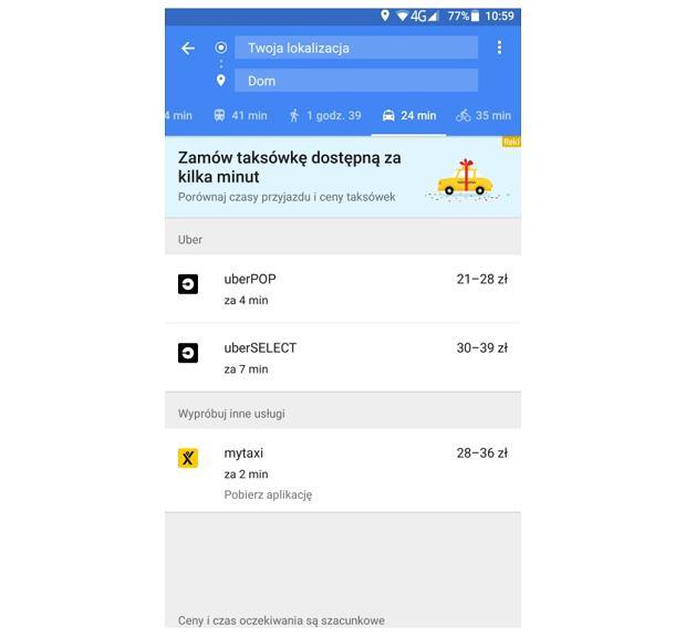 Przejazd myTaxi w Mapach Google