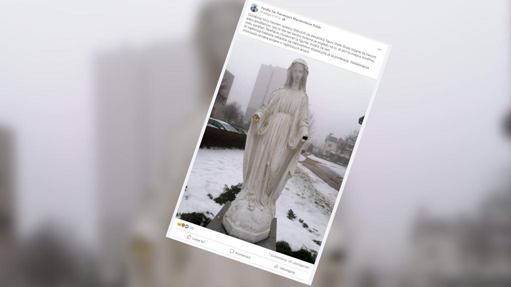 Częstochowa. Figura Matki Boskiej zdewastowana. Sprawca odrąbał jej dłonie