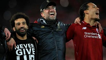 Mohamed Salah, Jurgen Klopp i  Virgil van Dijk - półfinał Ligi Mistrzów, mecz Liverpool - Barcelona (4:0), Anfield, Liverpool, Anglia, 7 maja 2019