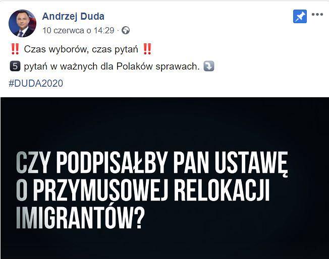 Oficjalny profil Andrzeja Dudy na Facebooku