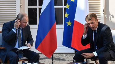 Emmanuel Macron i Władimir Putin podczas spotkania w Bregançon.