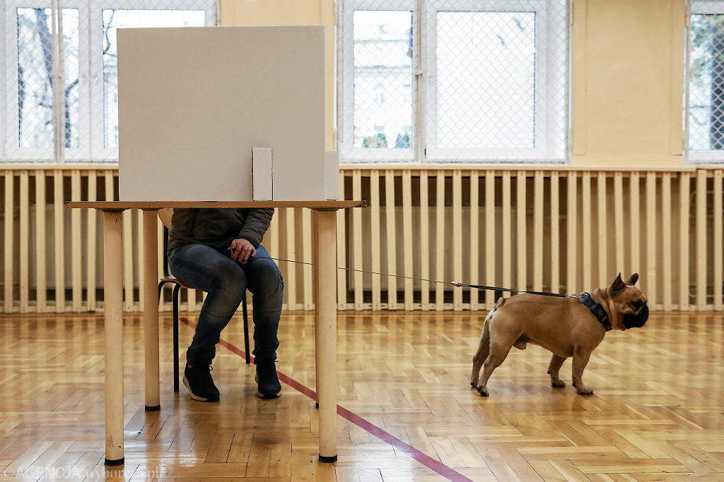 II tura wyborów prezydenckich w Krakowie. Lokal wyborczy przy ul. Smoleńsk.