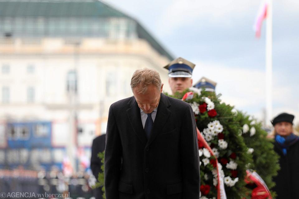 Były premier, przewodniczący rady Europejskiej Donald Tusk podczas głównych uroczystości pod Grobem Nieznanego Żołnierza z okazji 99 rocznicy Odzyskania Niepodległości. Warszawa, 11 listopada 2017