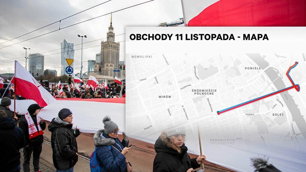 Trasa Marszu Niepodległości z okazji 11 listopada