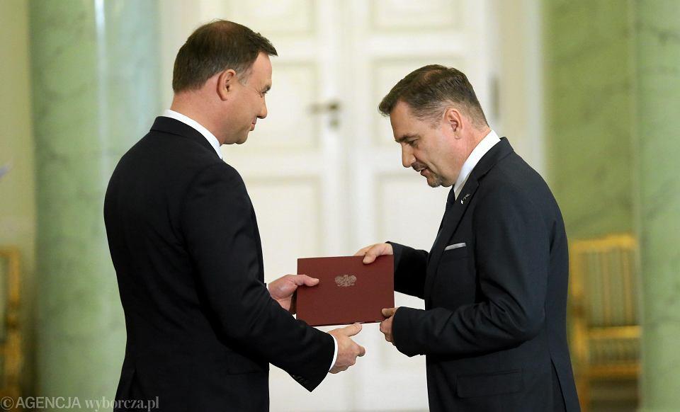 Prezydent Andrzej Duda i szef Solidarności Piotr Duda