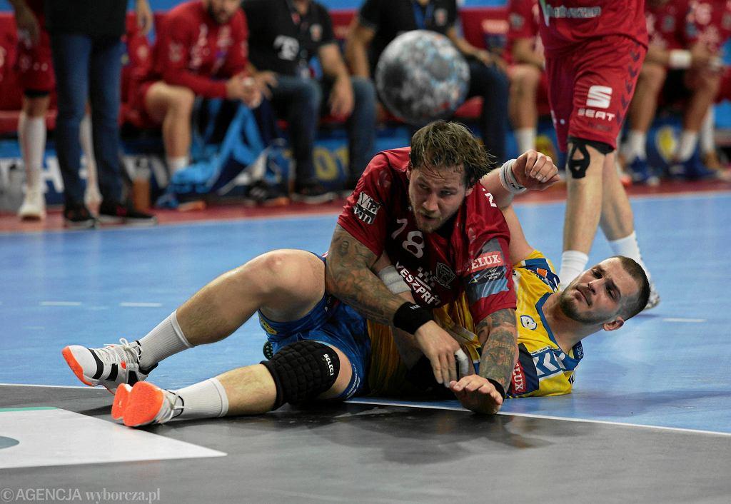 Arciom Karalok i Andreas Nilsson podczas meczu PGE Vive Kielce - Telekom Veszprem