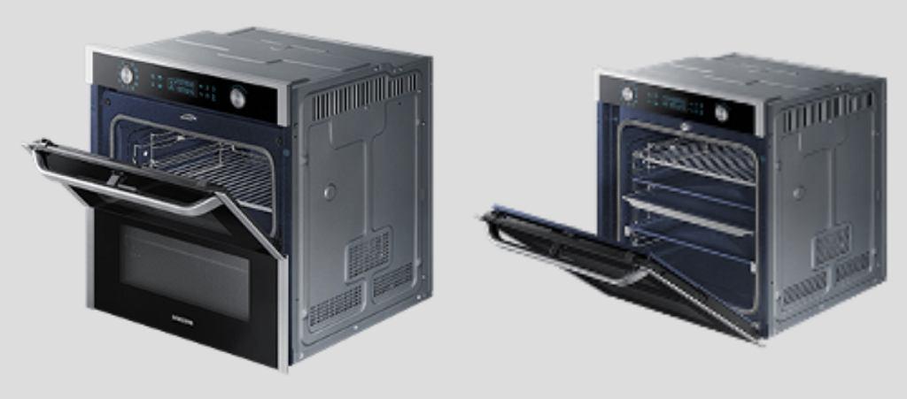 Innowacja marki Samsung - Flex Door, czyli dzielone drzwi, zapewniają niezależny dostęp do górnej komory piekarnika lub do jego całości.