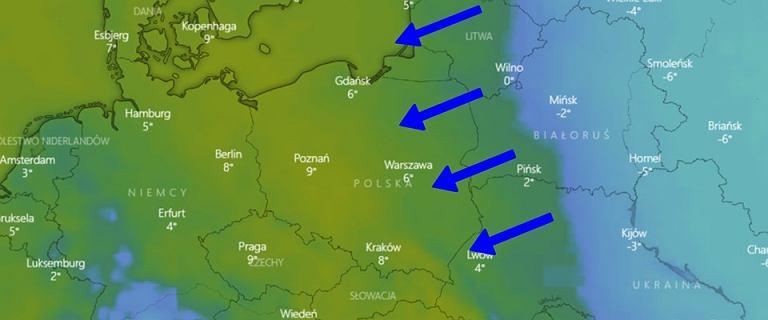 Pogoda. Do Polski nadciąga zimno znad Rosji. Temperatura może być bliska zera