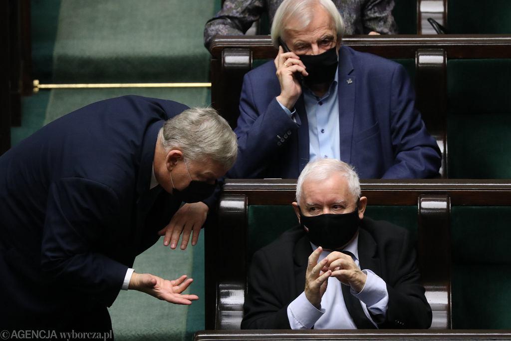 Marek Suski i Jarosław Kaczyński na posiedzeniu Sejmu 18 listopada 2020 r.