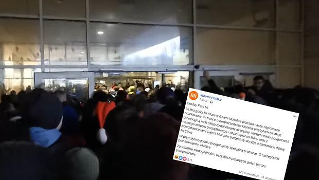 Tłum czekający na promocję w salonie Xiaomi w Galerii Mokotów.