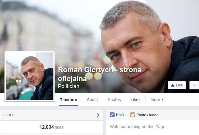 Roman Giertych - profil na Facebooku
