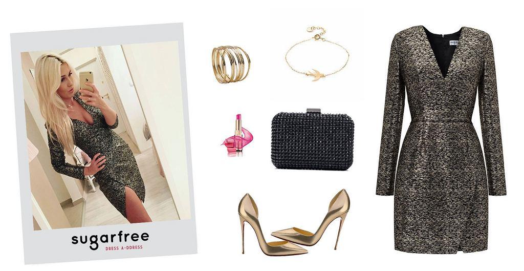 Sukienka Sugarfree, buty Louboutin, torebka Zara, naszyjnik Ania Kruk, pomadka L'Oreal, bransoletki Mango