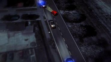 Animowana symulacja 'Wiadomości' TVP, pokazującą przebieg wypadku premier Beaty Szydło w Oświęcimiu. Jej twórcy zamienili podwójną ciągłą, na której wyprzedzała kolumna rządowych pojazdów, na pojedynczą przerywaną.