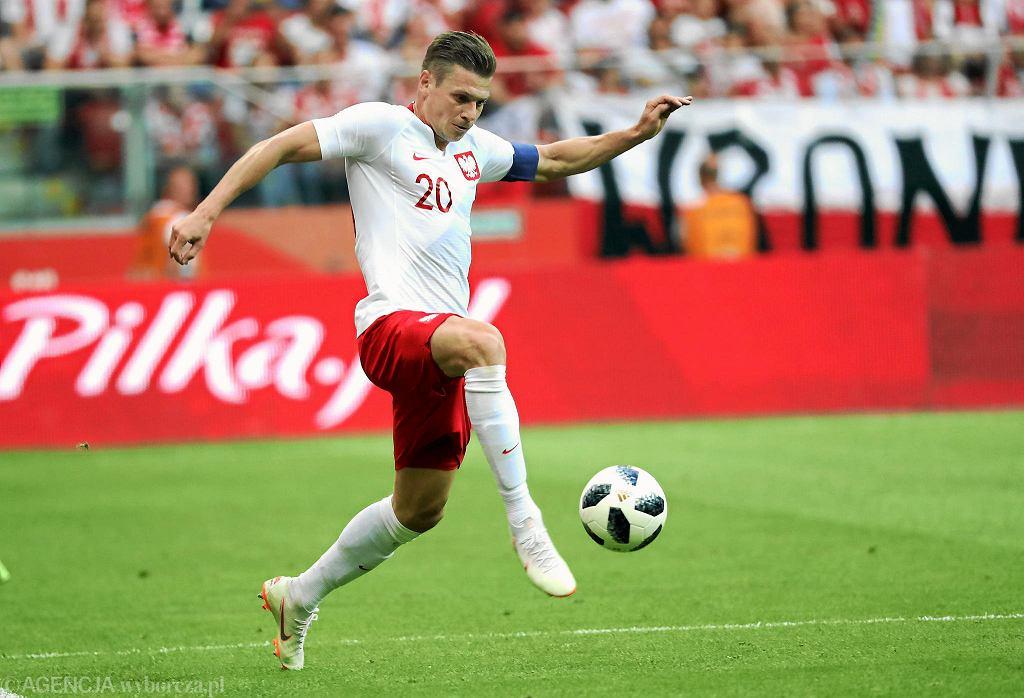 Łukasz Piszczek podczas meczu towarzyskiego Polska - Litwa na Stadionie Narodowym. Warszawa, 12 czerwca 2018
