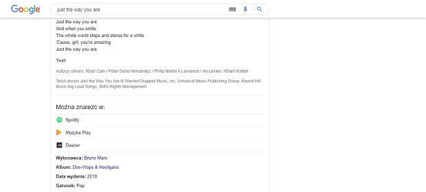 Treść piosenki można znaleźć bezpośrednio w Google  NA przykładzie Just The Way You Are Bruno Marsa
