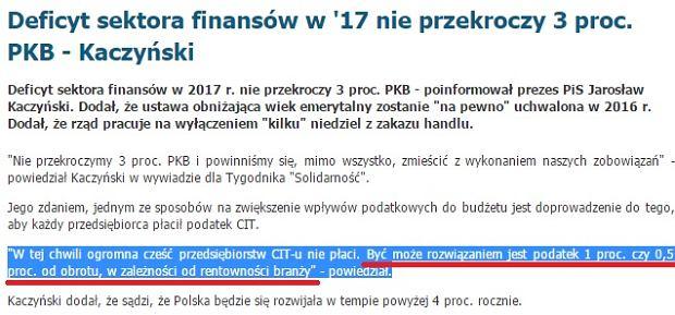 Fragment wywiadu Jarosława Kaczyńskiego dla Tygodnika Solidarność