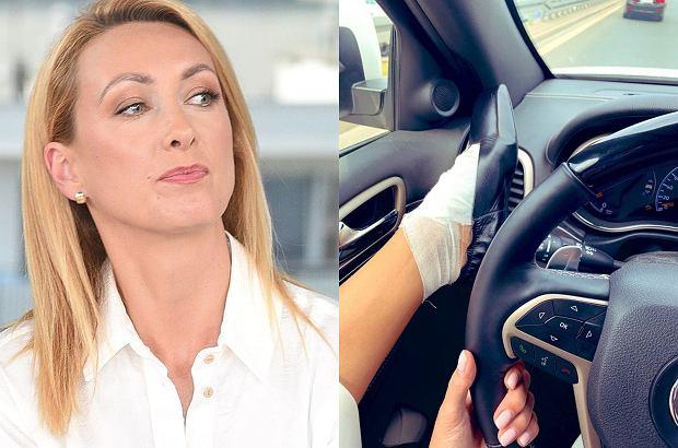 """Anna Kalczyńska z nogą na desce rozdzielczej. Spadła na nią krytyka. """"Stop wariatom na drodze"""". Zgrabnie się odgryzła"""