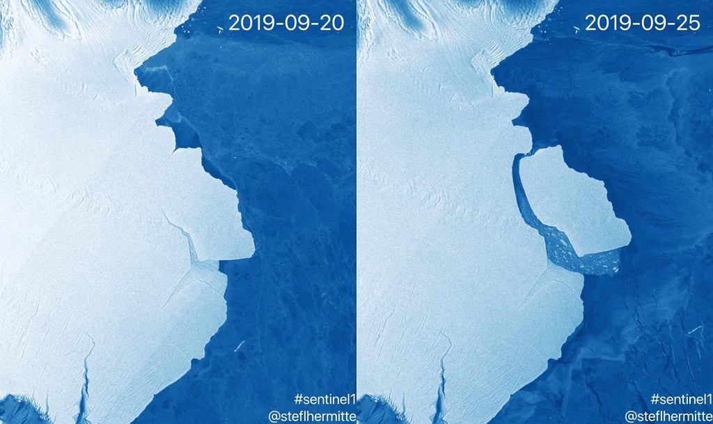 Oderwanie się góry lodowej od Lodowca Szelfowego Amery'ego na zdjęciu z satelity Sentinel-1