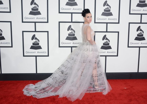 Katy Perry arrives at the 56th annual Grammy Awards at Staples Center on Sunday, Jan. 26, 2014, in Los Angeles. (Photo by Jordan Strauss/Invision/AP)