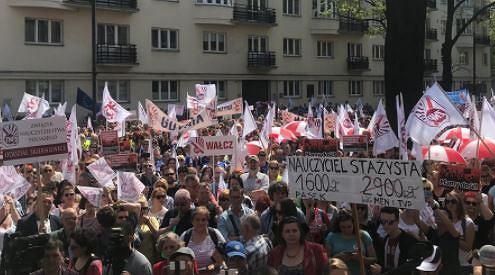 Protest nauczycieli przed budynkiem ministerstwa