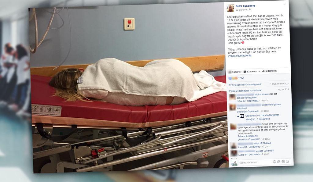 13-letnia Victoria przez energetyki trafiła do szpitala.