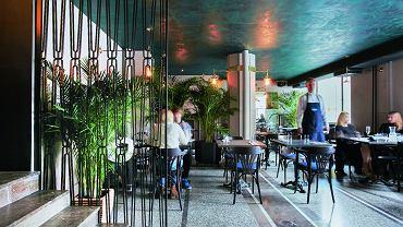 Kolory dżungli. Sufit pod antresolą budził najwięcej kontrowersji, ale pasuje idealnie. Krata i balustrada zaprojektowane specjalnie do tego wnętrza.