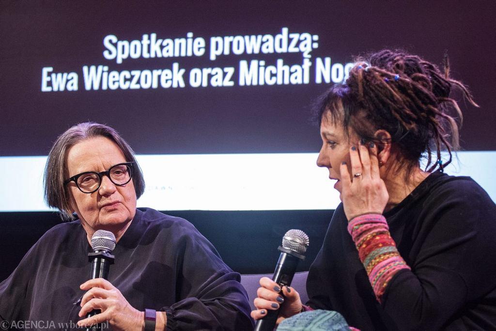 Spotkanie wokół filmu 'Pokot' w redakcji 'Wyborczej'. Na zdjęciu Agnieszka Holland i Olga Tokarczuk