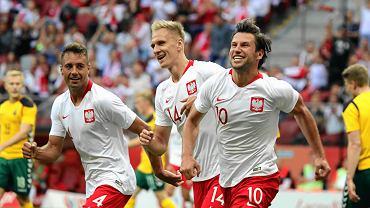 Grzegorz Krychowiak , Lukasz Teodorczyk i Thiago Cionek podczas meczu towarzyskiego Polska - Litwa na Stadionie Narodowym. Warszawa, 12 czerwca 2018