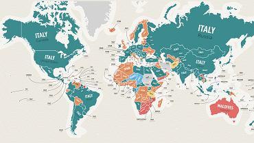 Powstała mapka, która pokazuje marzenia turystyczne w różnych krajach