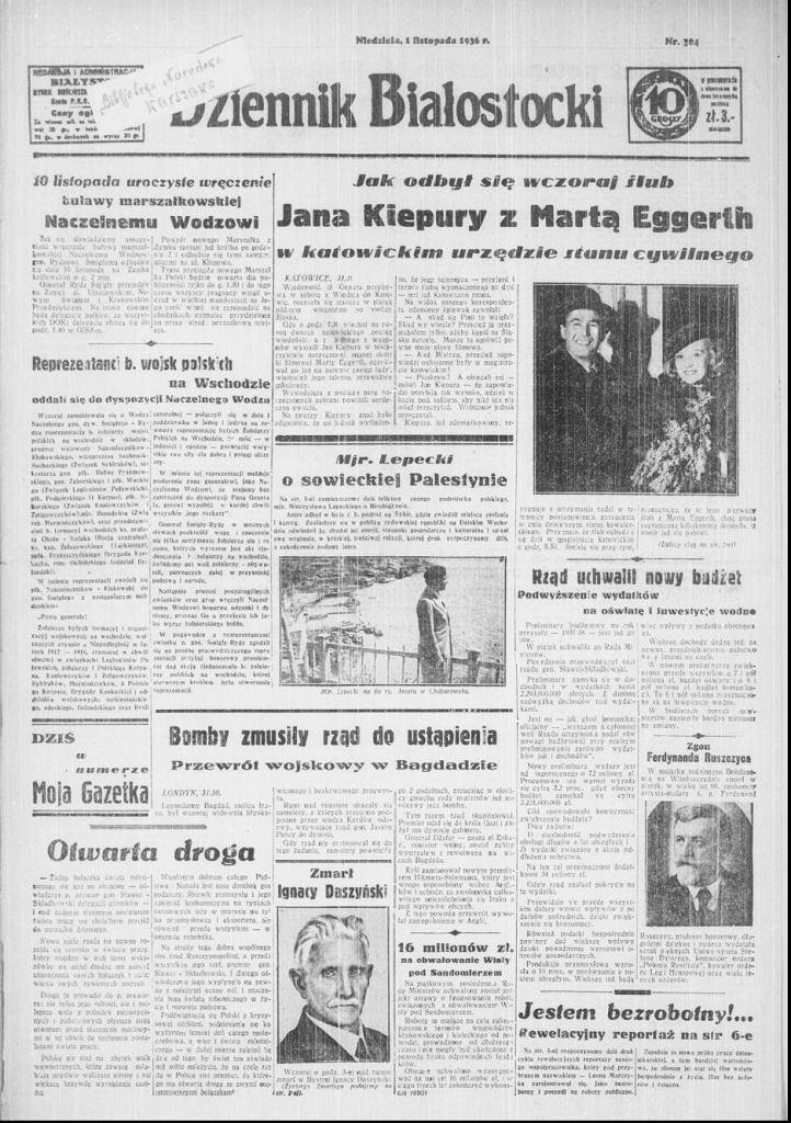 Dziennik Białostocki, wydanie z 1 listopada 1936