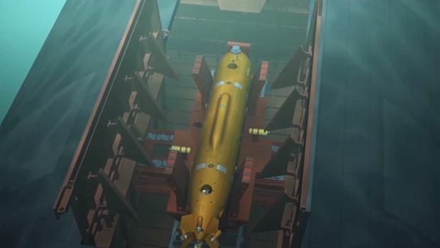Fragment animacji przedstawiający drona Klawesyn wypuszczany z doku na grzbiecie okrętu Białogród
