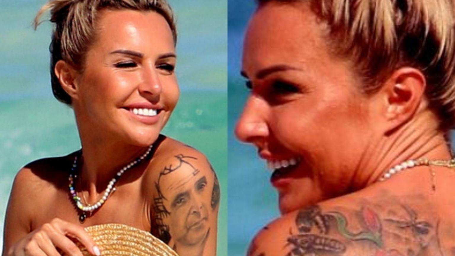 Wyluzowana Blanka Lipińska spaceruje topless po plaży w Meksyku. Wiedzieliście, że na plecach ma wielki tatuaż?