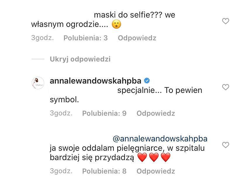 Komentarze pod postem Ani Lewandowskiej