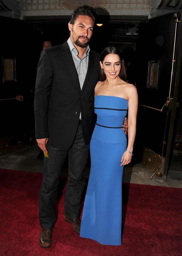 """HOLLYWOOD, CA - MARCH 18: Actors Jason Momoa (L) and Emilia Clarke arrive at the premiere of HBO's """"Game Of Thrones"""" Season 3 at TCL Chinese Theatre on March 18, 2013 in Hollywood, California.   Kevin Winter/Getty Images/AFP"""