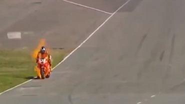 Motocykl Hernana Mediny zapłonął