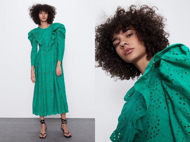 Zara haftowana sukienka z falbanką