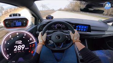 Volkswagen Golf R jedzie z prędkością 289 km/h