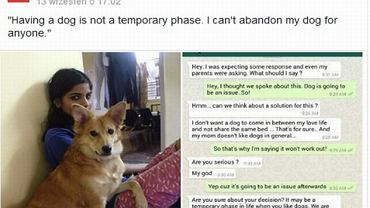 Dziewczyna, która zerwała zaręczyny ze względu na swojego psa