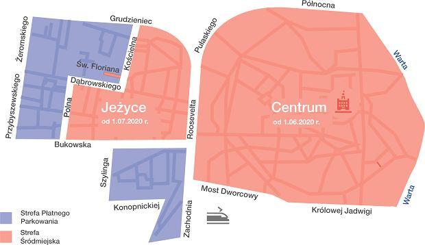 Strefa parkowania w Poznaniu na planie - czerwona strefa z wyższymi cenami i niebieska z niższymi