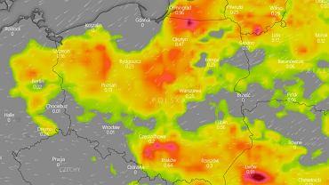 Mapa burz w Polsce - piątek 12 czerwca, godzina 14:00 -15:00.