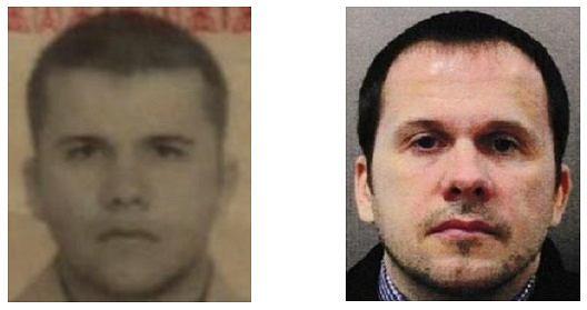 Izquierda, foto de pasaporte de Myshkin de 2001, derecha, revelada por los servicios británicos después del ataque en Salisbury.