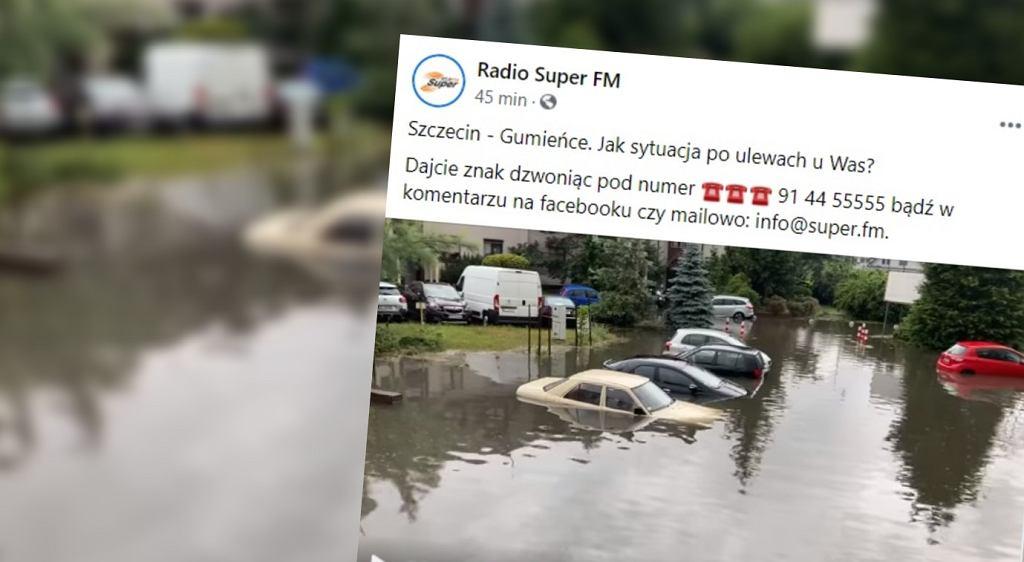 Zalany parking w Szczecinie
