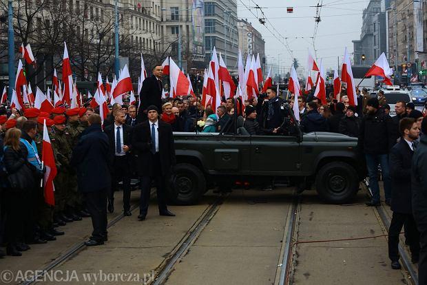Prezydent Andrzej Duda podczas otwarcia wspólnego Biało - Czerwonego Marszu Dla Ciebie Polsko, Warszawa 11.11.2018