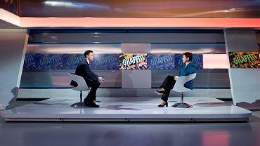 Fot. P. Tracz Kancelaria Premiera. (Zdjęcie ilustracyjne, przedstawia Beatę Szydło, ówczesną premier, która była gościem programu 'Graffiti', prowadzący Piotr Witwicki.