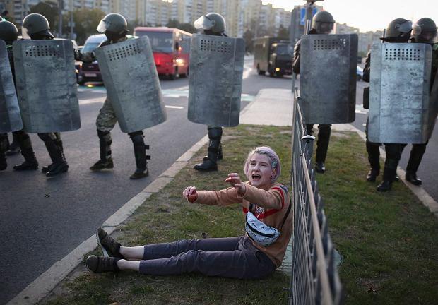 Protest Białorusinów po inauguracji Aleksandra Łukaszenki, 23 września 2020.