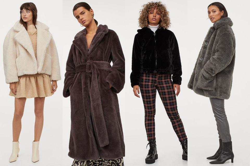 H&M futrzane kurtki i płaszcze