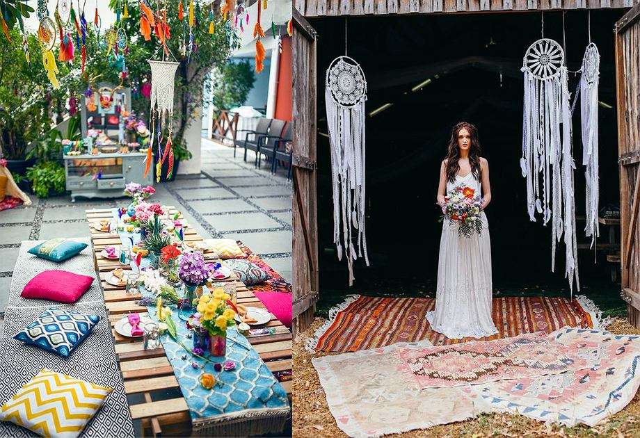 Girlandy - styl boho w ogrodzie / wesele w stylu boho