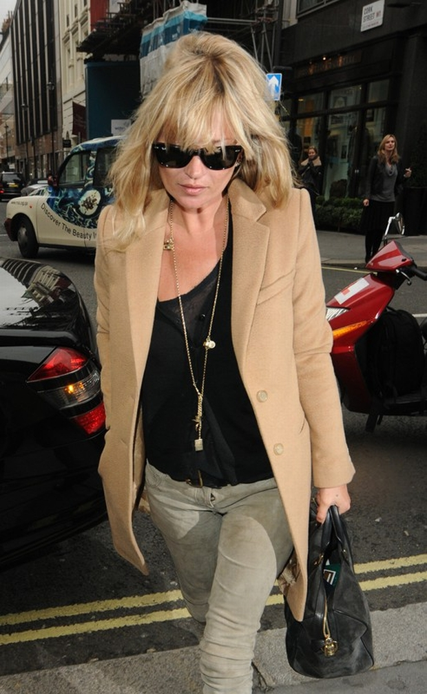 Supermodel Kate Moss wearing a long beige coat and dirty grey trousers, takes her mum Linda out for lunch at Cecconi's Italian restaurant. Then pair hit the shops for some retail therapy in Burlington Arcade in the West End.  Pictured: Kate Moss