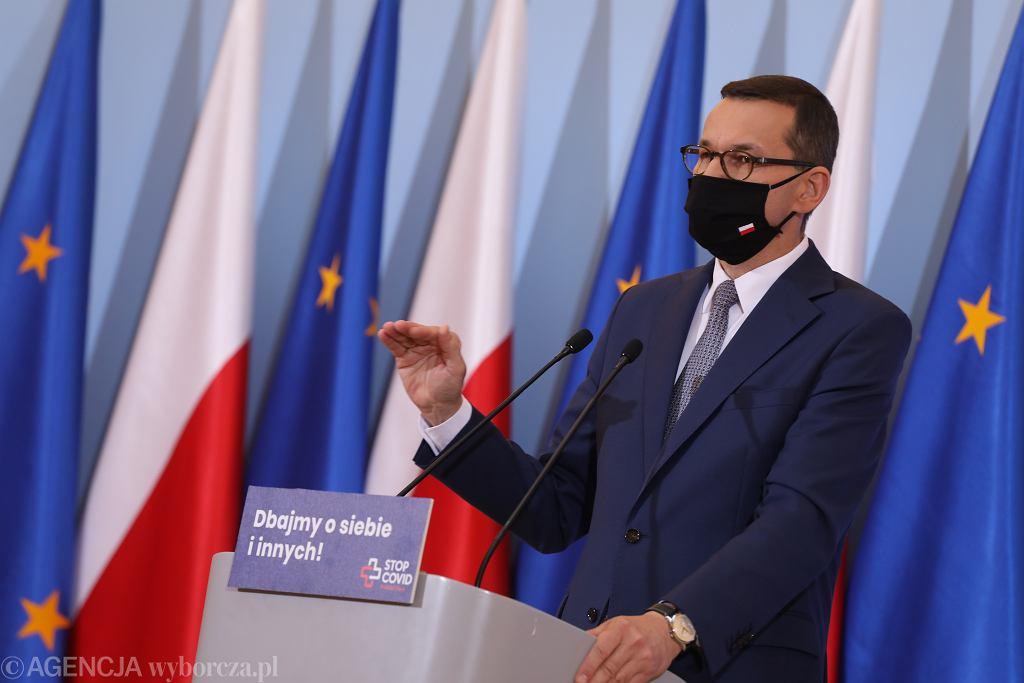 Konferencja prasowa premiera Mateusza Morawieckiego.