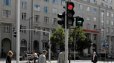 Zielona strzałka w Warszawie